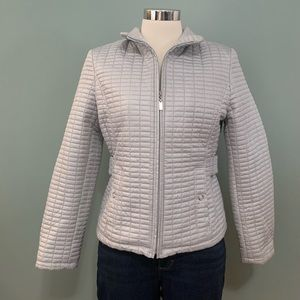 Gallery Petite Quilted Grey Jacket